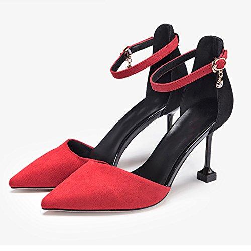 JIANXIN Die Sportiven Sandalen Für Damen Damen Damen Im Frühling Und Sommer Sind Ultra High Heels Und EIN Wort Für Schuhe Für Frauen. (Farbe   rot größe   EU 39 US 8 UK 6 JP 25cm) 8d47dc