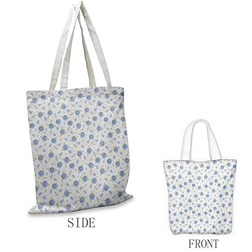 - Floral Shopping bag series Flourishing Summer Rose Flowers in Blue Colors Leaves Dots Insulated shopping bag W15.75 x L17.71 Inch Pale Yellow Baby Blue Violet Blue