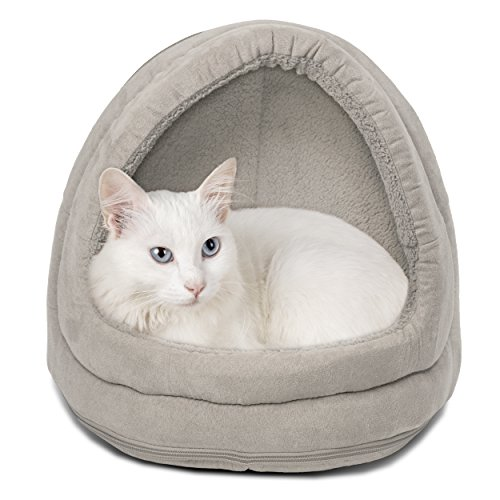 (FurHaven Pet Hood Bed | Terry & Suede Hood Pet Bed for Dogs & Cats, Clay, One-Size)