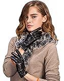 (US) YISEVEN Women's Leather Lined Warm Winter Gloves, Lambskin/ Touchscreen, 6.5, Black