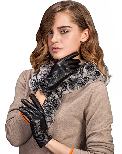 YISEVEN Women's Winter Touchscreen Sheepskin Leather Dress Gloves Fleece Lined Warm Driving Long Fur Lining Cuffs Genuine Heated Thinsulat Italian Cold Weather Lambskin Work Xmas Gifts, Black XL