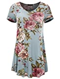 All for You Women's Short Sleeve V-Neck Flare Hem Floral Print Tunic Mint 70149 X-Large