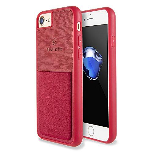 Funda para iPhone 7 / iPhone 8 con soporte para tarjeta, funda para tarjeta Sinjimoru para iPhone 7 / iPhone 8 con billetera para tarjetas. Sinji Pouch Case para iPhone 7 / iPhone 8, Nero. rojo