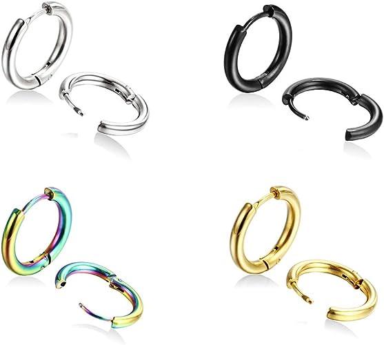 8-20mm Gold Stainless Steel Ear Helix Hoop Huggie Stud Sleeper Earrings Piercing