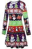LaSuiveur Womens Christmas Santa Claus Print Pullover Flared A Line Dress