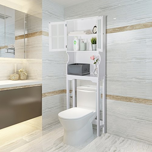 Peachtree Press Inc Home Bathroom Shelf Over The Toilet, Space Saver Cabinet,Bathroom Cabinet Organizer with Graceful Curve Cabinet&Moru Tempered Glass Door, White by Peachtree Press Inc