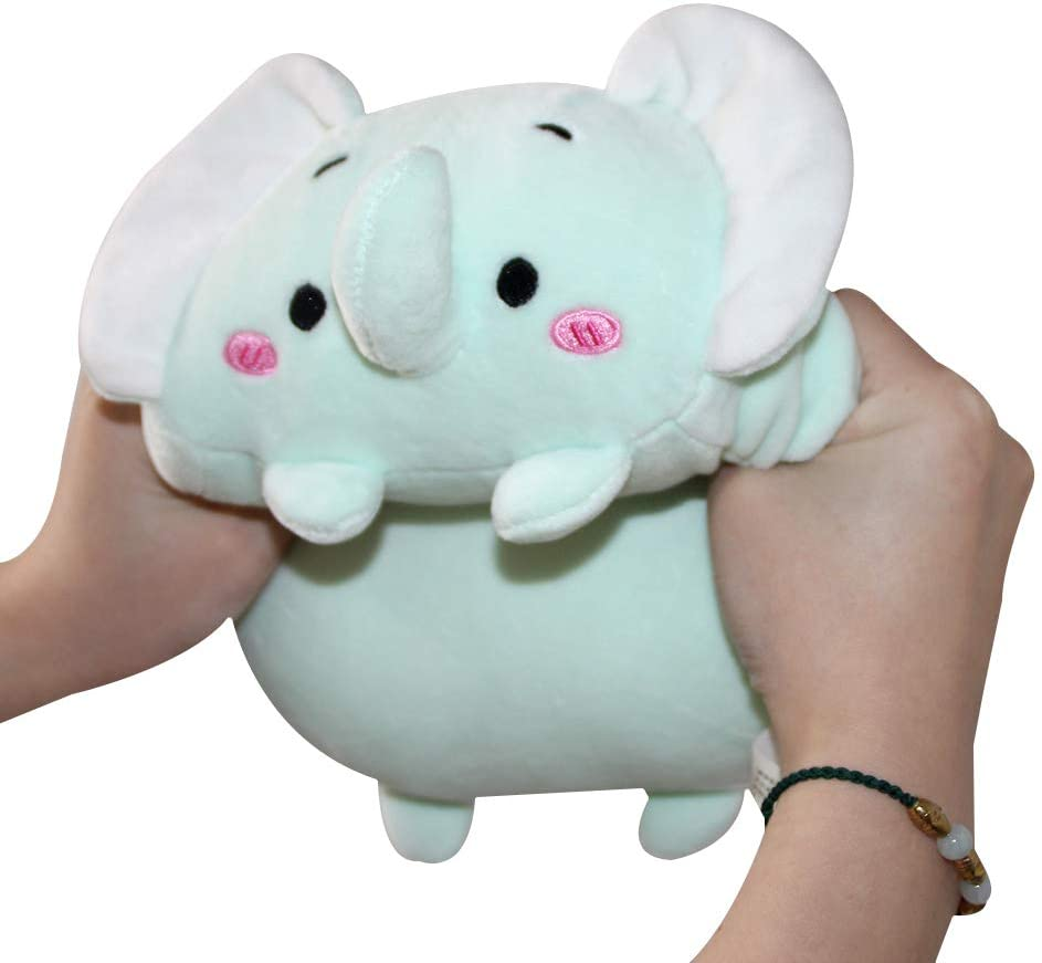 AIXINI 8 inch Cute Elephant Squishy Plush Hugging Pillow,Super Soft Cartoon Stuffed Animal Toy Gifts for Bedding, Kids Sleeping Kawaii Pillow