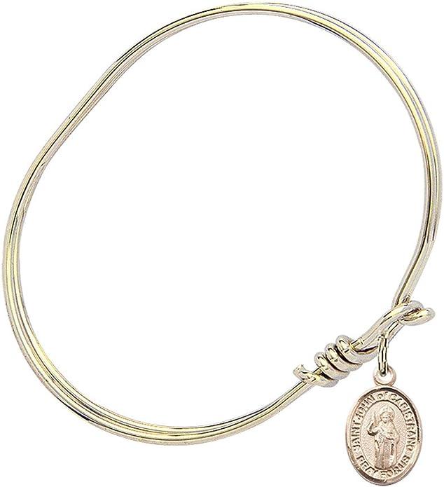 Bonyak Jewelry Oval Eye Hook Bangle Bracelet w//St John of Capistrano in Sterling Silver