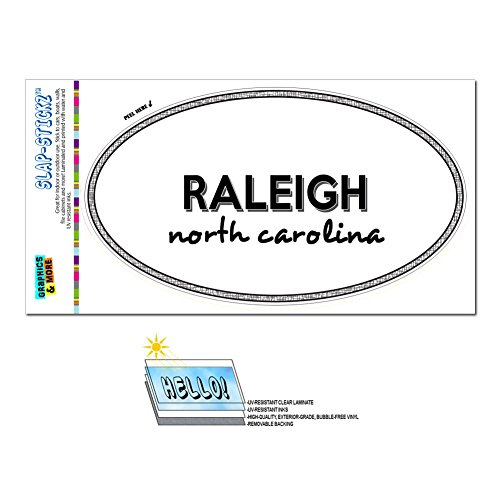 Euro Oval Window Bumper Laminated Sticker North Carolina NC City State Moy - Sha - - Raleigh Of Town Nc
