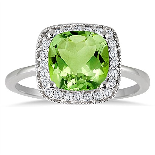 SZUL Cushion Cut Peridot and Diamond Halo Ring in 14K Whi...