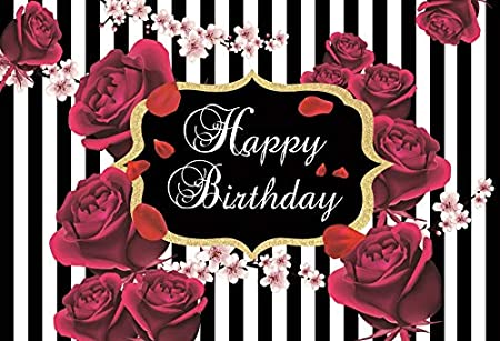 Yeele 10x8ft Vinyl Happy Birthday Backdrop for Photography Rose Flowers Plum Blossom Black and White Stripes Photo Background Banner Decoration Baby Adult Booth Shoot Studio Props