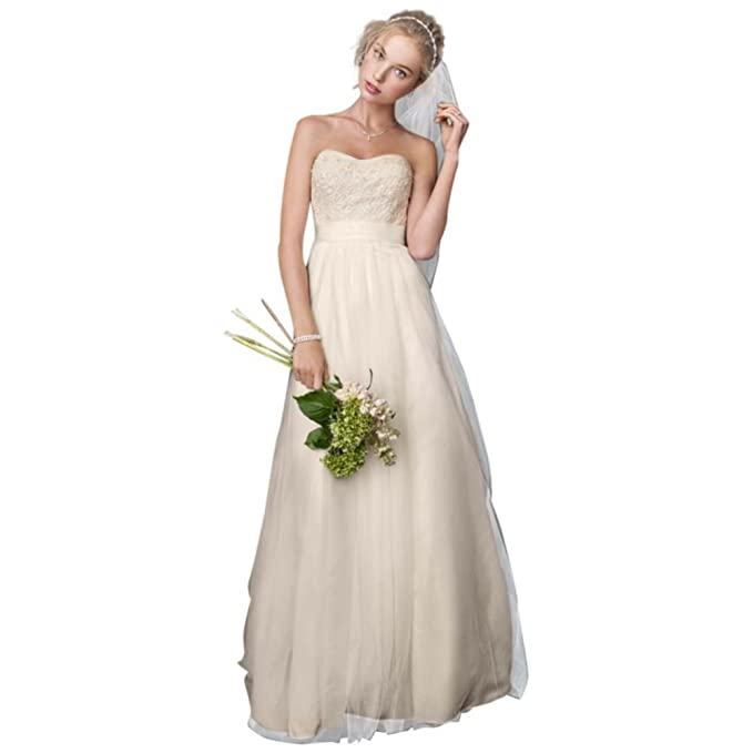 79d56dc5ff David s Bridal Sample  Strapless A Line Beaded Lace Tulle Gown Style  AI10043102