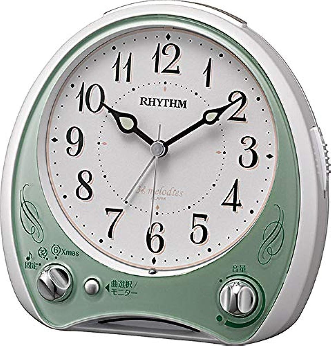 [해외] 리듬 시계 자명종 아날로그 연속 초침 아리아 칸퍼터빌레N 38 곡고음질 멜로디 탑재그린 RHYTHM 8RM400SR05