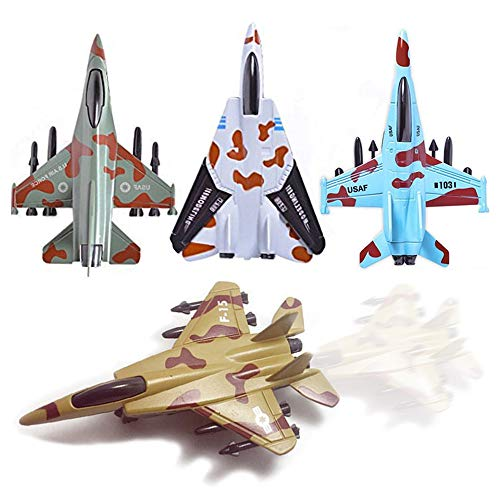 UiiQ Pull Back Metal Die Cast Toy Airplane Set Of 4 Military Fighter Jets for Toddler Boys Girls