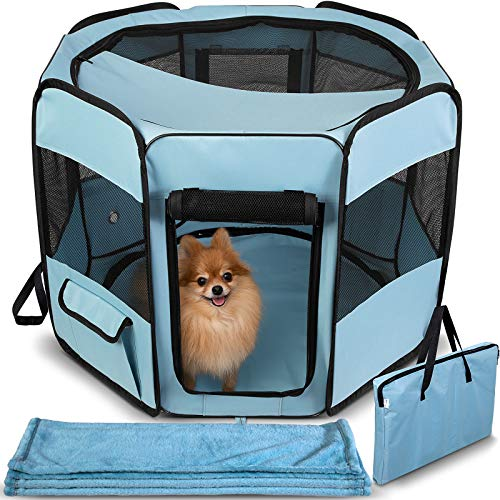 Pals Pen Small (Dog Playpen with Blanket - Portable Soft Sided Mesh Indoor & Outdoor Exercise Play Pen for Pets - Blue)
