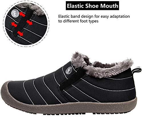 Women Winter Womens RUN S Boots Fur Waterproof Booties Ankle Boots for L black Snow 1qP5wEqx