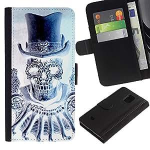 KingStore / Leather Etui en cuir / Samsung Galaxy S5 Mini, SM-G800 / Cráneo del diamante del sombrero de copa de Bling de la Muerte