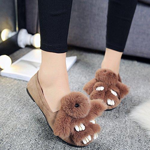 Y-hui Pantoufles De Coton D'hiver Chaussures Plates Chaussures De Glisse Pois Printemps, 38 Code Standard, Café (lapin)