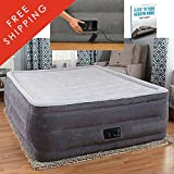 Queen Air Mattress With Pump Built Pillow Elevated Raised Comfort Electric Pump Deluxe Hight Travel Daybed Lightweight Adjusts Flocked Top Best Rest Camping And eBook By NAKSHOP