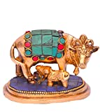 Purpledip Kamdhenu Cow and Calf in Pure Brass with gem stonework, Small Size for Home temple, Table top, Shop Cash Counter (10643)