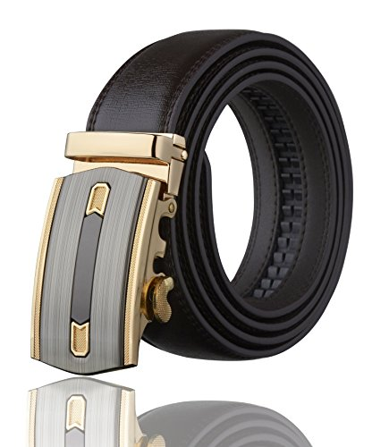 Men's Imperial Ratchet Leather Dress Belt (Gold Buckle w/Brown Leather)
