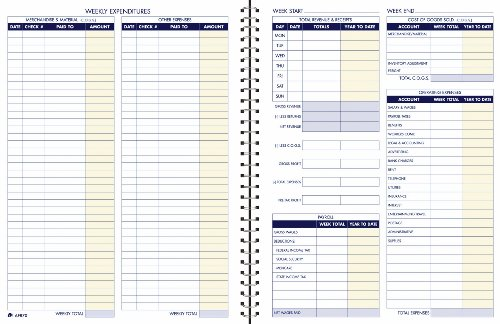 Adams Bookkeeping Record Book, Weekly Format, 8.5 x 11 Inches, White (AFR70) Business Expense Organizer