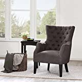 Button Tufted Wing Chair Brown/Hannah