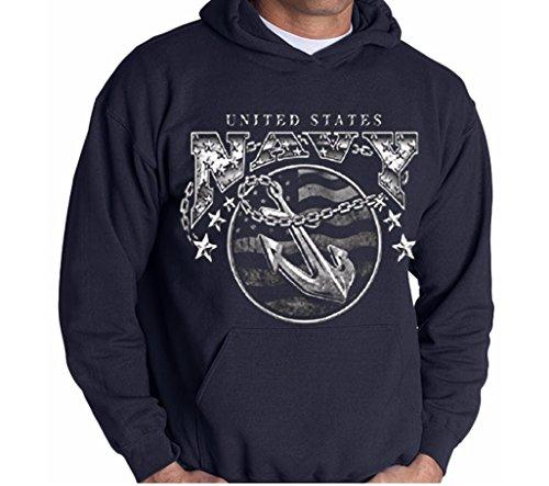 (United States Navy Mens Hooded Sweatshirt Anchor Naval Shield Hoodie Navy Blue,Medium)