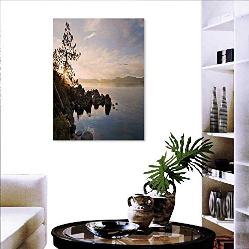 Wall Decor Lake Tahoe at Sunset Clear Sky Single Pine Tree Rest Peaceful Weekend Photo Wall Paintings 16
