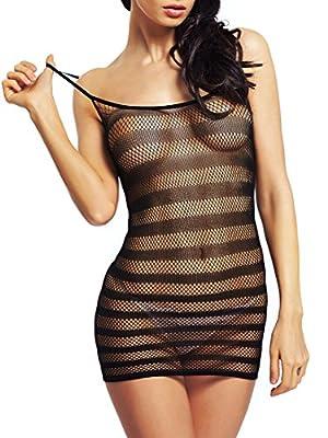 Amoretu Womens Fishnet Lingerie Striped Mini Dress Strap Chemise