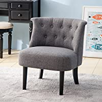 Merax Accent Chair with Button Tufts Loveseat Sofa Armless Lounge Chair