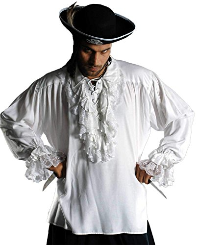 ThePirateDressing Medieval Renaissance Poet Pirate Cosplay Costume Roberto Cofresi Shirt [White] (XXL) C1003