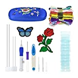 ENJIT magic embroidery pen set with patterns, Embroidery Stitching Punch Needles Craft Tool Set Including 50 Color Threads and Cross Stitching and Knitting Sewing Tool for DIY Threaders Sewing