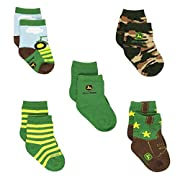 John Deere Baby Boys 5 pack Crew Socks (6-12M, Tractor Farm Green)