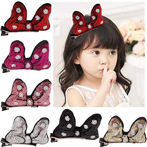 Cute Glitter Sequins Minnie Bows Mouse Ears Bunny Hiar Bows Alligator Clips for Baby Girls Toddlers Costumn Pack of -
