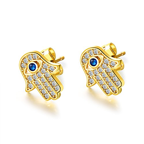 ld Plated Evil Eye and Hamsa Hand of Fatima White Blue Cubic zircon crystal Stud Earrings For Women Teen Girls (Yellow Gold) ()