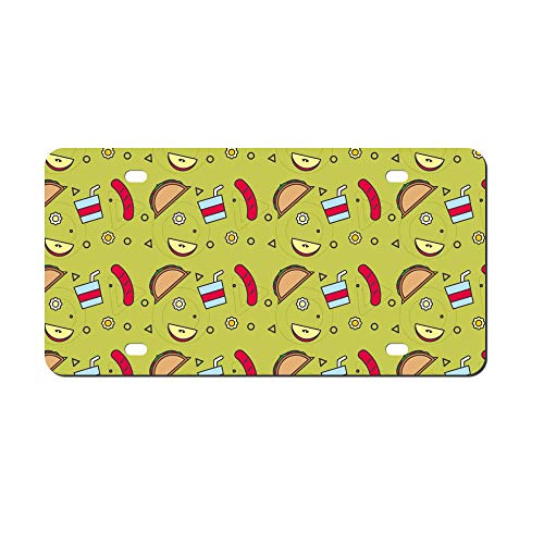 (DKISEE Abstract School Lunch Pattern 04 License Plate Cover Aluminum Car Front License Plate)