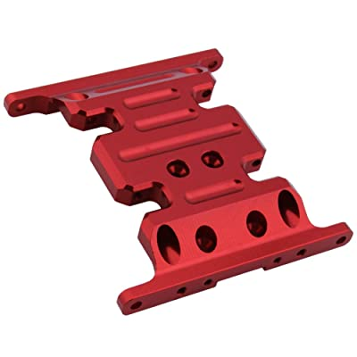 Hobbypark Aluminum Center Frame Brace Transmission Skid Plate for AXIAL SCX10 1/10 RC Rock Crawler Car Option Parts (Red): Toys & Games