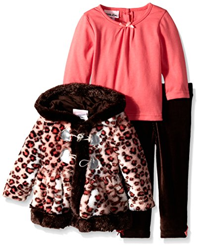 - Little Lass Baby Girls' 3 Piece Cheetah Toggle Faux Fur Jacket Set, Brown, 12 Months