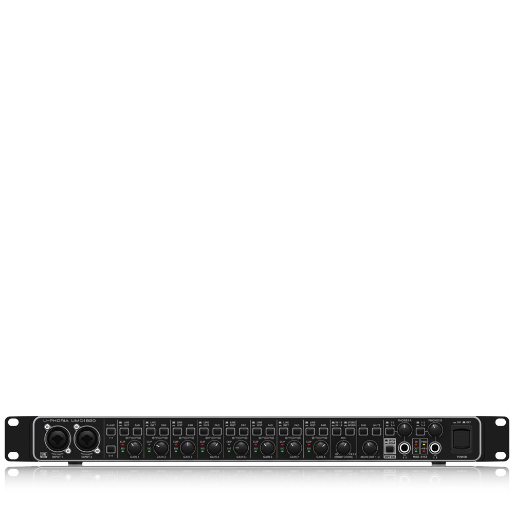 Black 8-Channel Behringer UMC1820 24-Bit//96 kHz USB Audio//MIDI Interface with Mic Preamplifiers