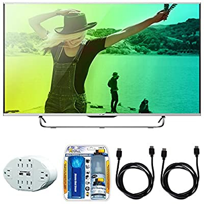 "Sharp Aquos N7100 70"" Class 4K Ultra WiFi Smart LED HDTV (70N7100U) with 6 Outlet Wall Tap w/ 2 USB Ports White, Performance TV/LCD Screen Cleaning Kit & 2x HDMI to HDMI Cable 6'"