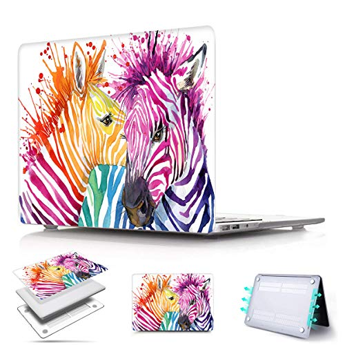 PapyHall Newest Protection Case Only Compatible 2018 Release MacBook Air 13 inch with Retina Display Touch ID Model: A1932 Colorful Pattern Plastic Hard Shell Cover - Rainbow Zebra