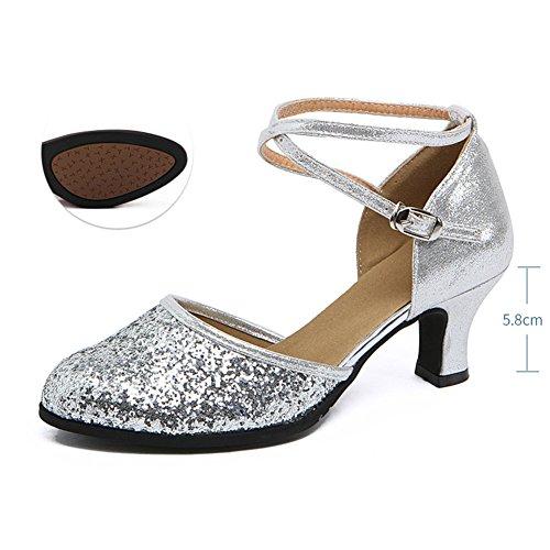 Zapatos Baile Baile WYMNAME Lentejuelas De Mediados Tacones Baile Cuadrado 2 Mujeres Modernos De De Latino Zapatos Amistad Zapatos Sandalia 44qR6nw1