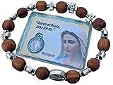 Catholic Olive Wood Bracelet From Medjugorje Our Lady/Divine Jesus Cross medals Adjustable Bracelet