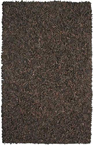 Pelle Leather Shag Rug, 30-Inch by 50-Inch, Dark - Leather Pelle Rug Brown