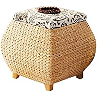 Handmade beige entryway drum-shaped storage bench with cloud pattern top/Large storage bench/handmade Stool/Wooden chair/wedding gift