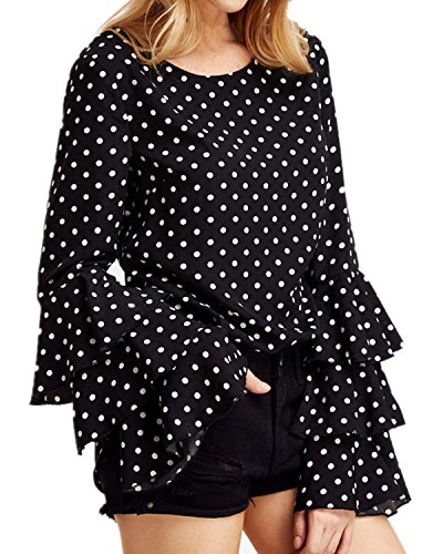 StyleDome Mujer Camiseta Mangas Largas Volantes Lunares Blusa Elegante Noche Casual Oficina Negro