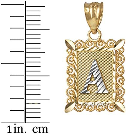 LA BLINGZ 14K Yellow Gold Filigree Alphabet Initial Letter A DC Charm Necklace