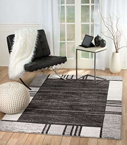 Rio Summit 309 Grey Black White Area Rug Modern Abstract Many Sizes Available 5' x 7'.2″