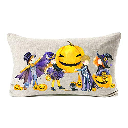 MFGNEH Halloween Decor Cotton Linen Pillow Covers 12x20,Halloween Decorations Throw Pillow Case Cushion Cover with Pumpkin Little Witch]()